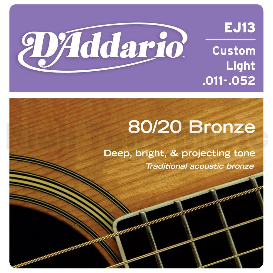 สายกีตาร์โปร่ง D'Addario EJ10 Bronze Acoustic Guitar Strings, Extra Light, 10-47