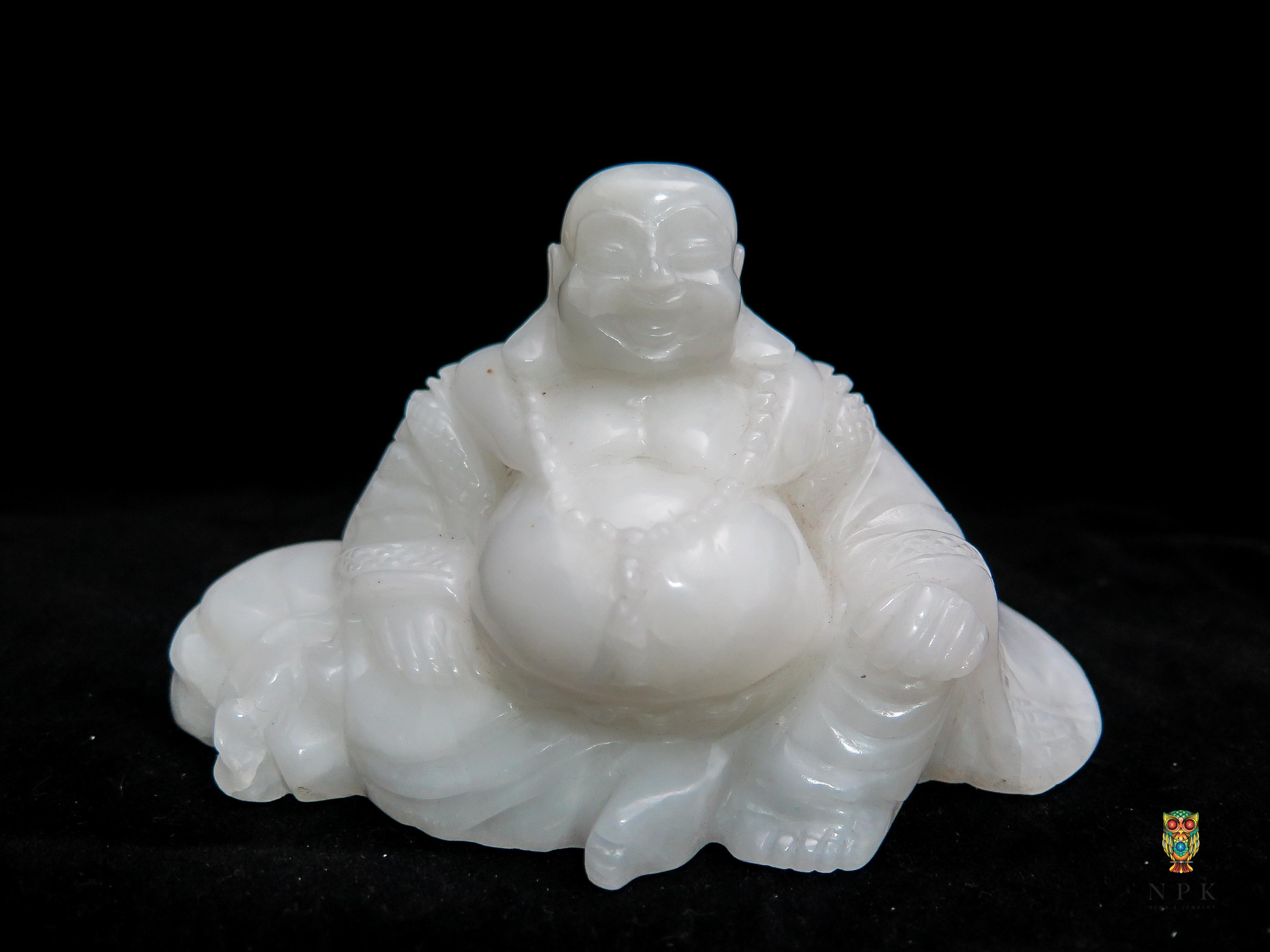 พระสังกัจจายน์หินขาวแกะสลัก ( Happy Buddha White Rock Craving )