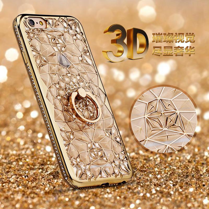 เคสขอบเพชรลาย 3D ติดแหวนเพชรตั้งได้ ไอโฟน 6/6s plus 5.5 นิ้ว