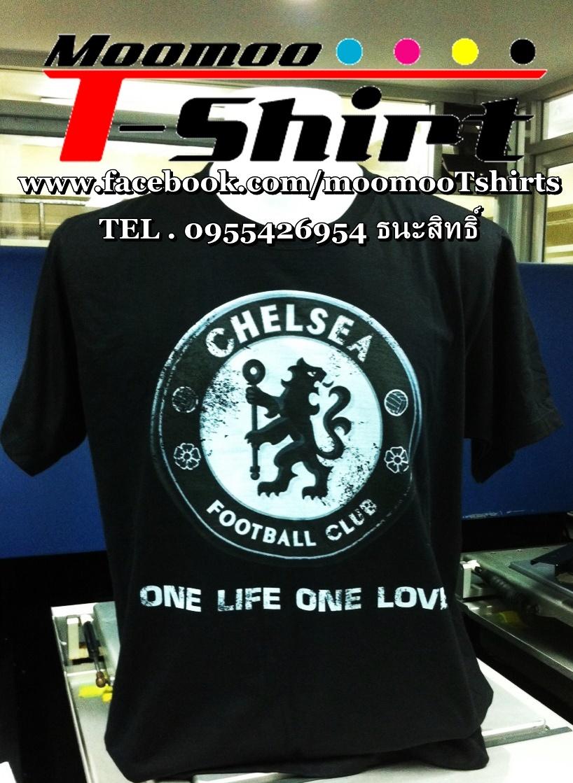 เสื้อดำพิมพ์ลายทีมฟุตบอล ด้วยระบบดิจิตอล