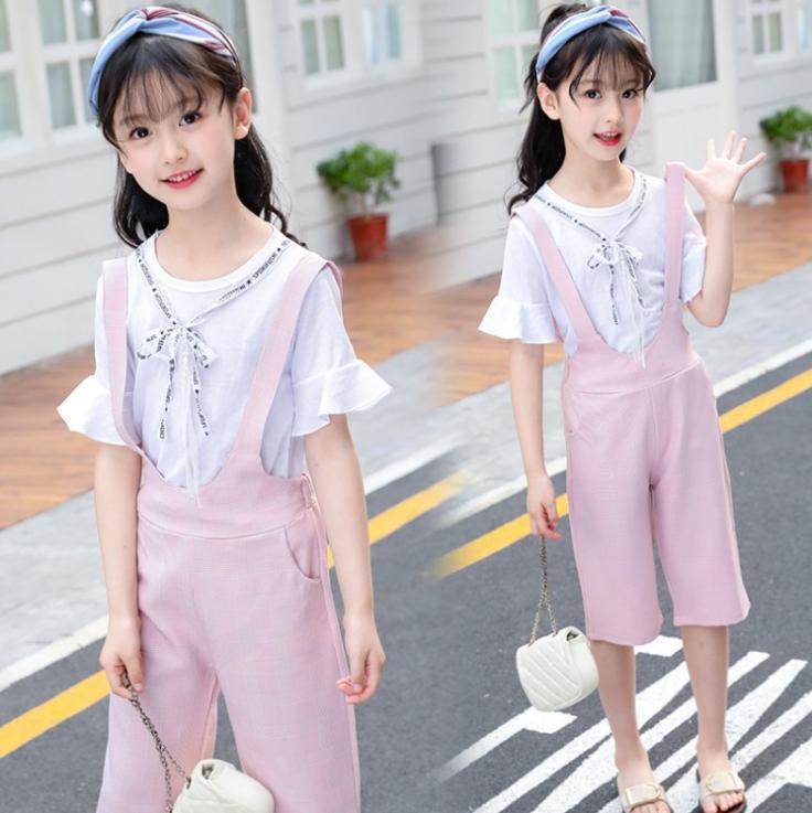 เสื้อ+เอี๊ยมกางเกง สีชมพู แพ็ค 5 ชุด ไซส์ 120-130-140-150-160 (เลือกไซส์ได้)
