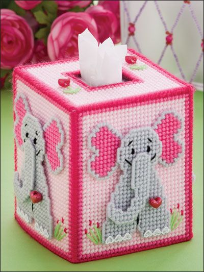 ชุดปักแผ่นเฟรมกล่องทิชชูลายช้าง