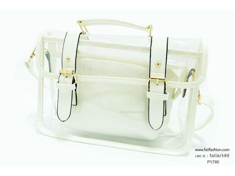 กระเป๋าพลาสติกใส ตัดเย็บสลับหนัง สไตล์ Cambridge satchel กระเป๋าใบเล็กด้านในแยกออกได้
