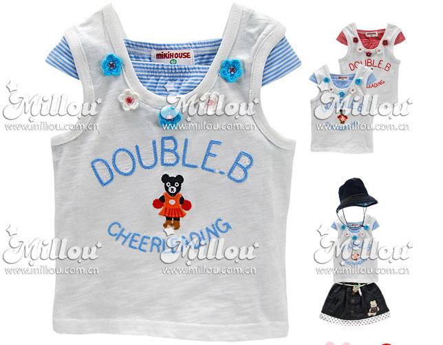 M2113 mikihouse เสื้อยืดเด็กหญิง เนื้อนิ่ม สีขาว ต่อแขนล้ำลายริ้วสีฟ้า ปักแปะน้องหมีใส่กระโปรง Double.B CHEERLEADING เหลือ Size 80/100/110