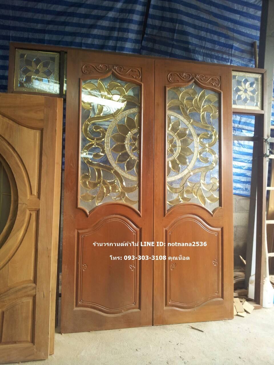 ประตูไม้สักกระจกนิรภัยเกรด A,B รหัส AAA160