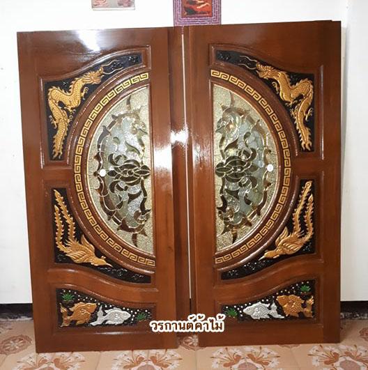 ประตูไม้สักกระจกนิรภัย แกะมังกรหง์ ปลาเงินทอง เกรดA รหัส A29