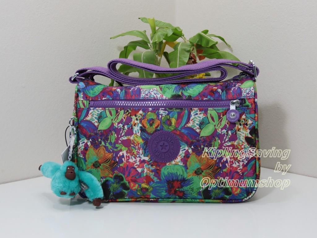 Kipling Callie Aloha Grove Purple กระเป๋าสะพาย ขนาด L10.5 x H7.5 x D 4.5 นิ้ว