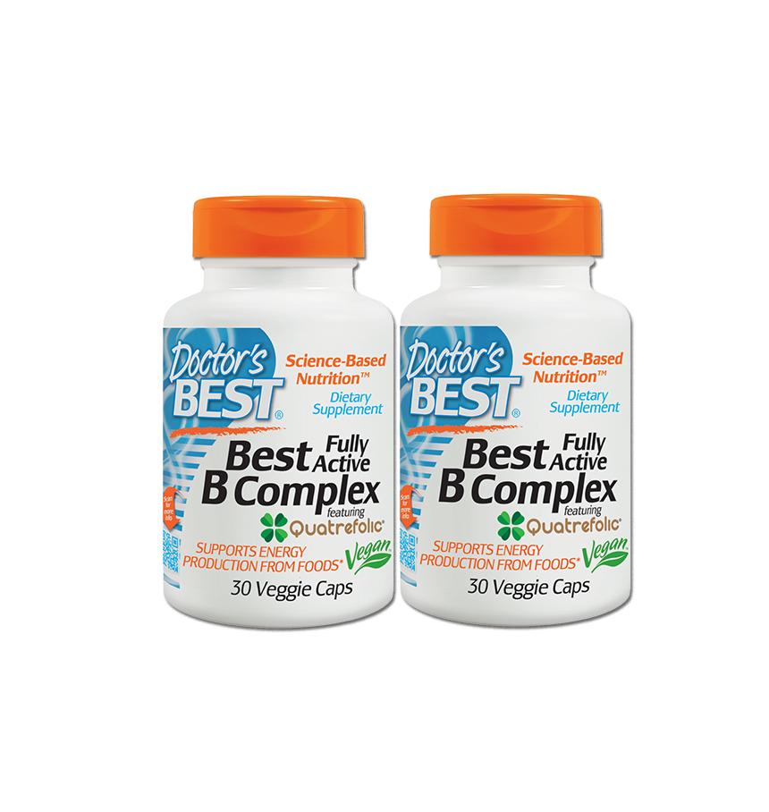 Doctor's Best, Best Fully Active B Complex, 30 Veggie Caps 2 กป