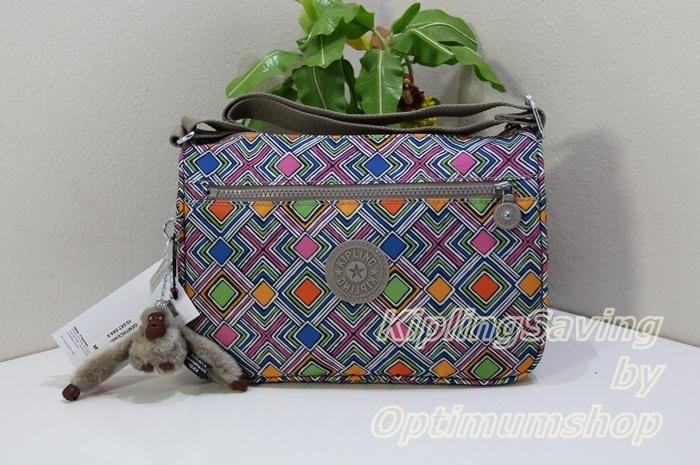 Kipling HB6492 Callie Geometric Ember กระเป๋าสะพาย ขนาด L10.5 x H7.5 x D 4.5 นิ้ว