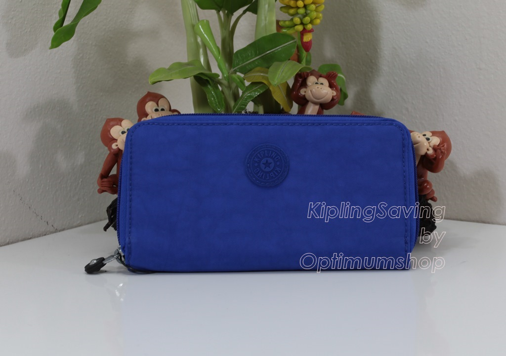 Kipling Clarissa Glass Bottom Blue เป็นกระเป๋าสตางค์ใบยาวแบบซิปรอบ ขนาด 7.5x 4 x 0.875 นิ้ว