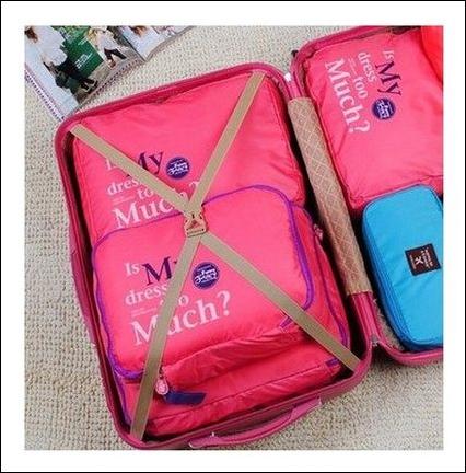bags in bag ที่จัดระเบียบกระเป๋าเดินทาง พร้อมส่ง สีชมพูเข้ม 1 เซ็ท มี 5 ชิ้น 5 ไซส์ค่ะ