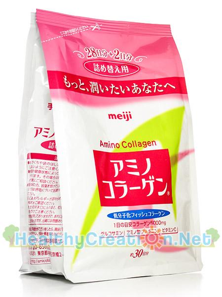 Meiji Amino Collagen 5000 mg. [ชนิดถุงเติม] ปริมาณสุทธิ 214 g. ช่วยให้ผิวมีความชุ่มชื้นมากขึ้น และมีความยืดหยุ่นขึ้น ช่วยให้ริ้วรอยตื้นและน้อยลง