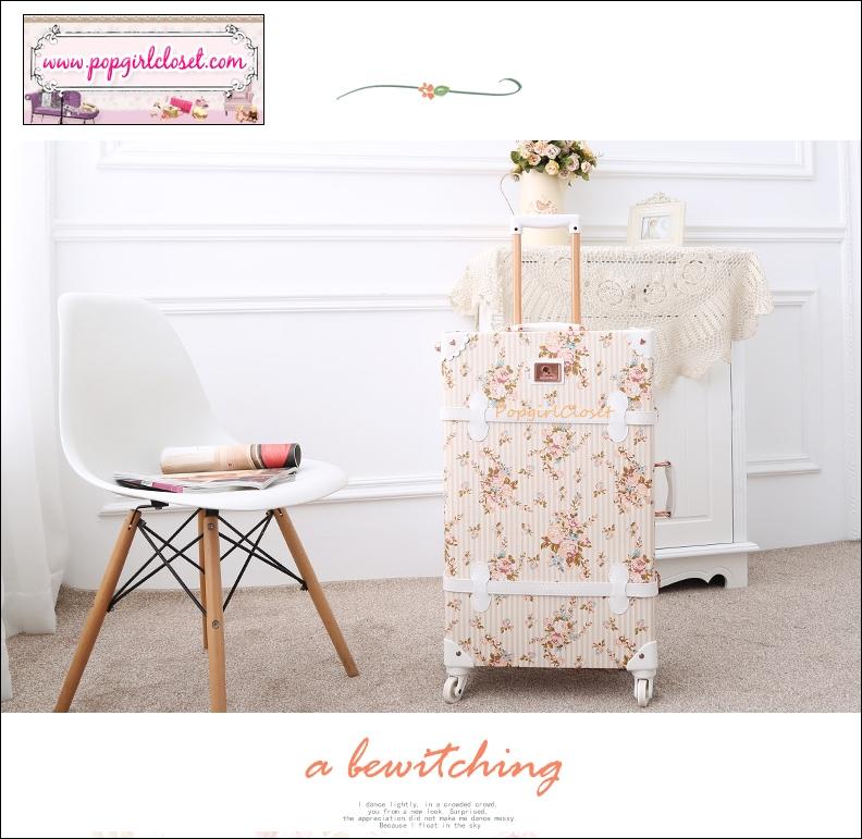 """กระเป๋าเดินทางดีไซน์วินเทจ อัพเกรด 4 ล้อ UNIWALKER """"Fresh Floral"""" for Winter 2016 Luggage&Suitcase Japanese Style ไซส์ 20"""", 22"""", 24, 26"""" หนัง PU (Pre-order) ราคาสินค้าอยู่ด้านในค่ะ"""