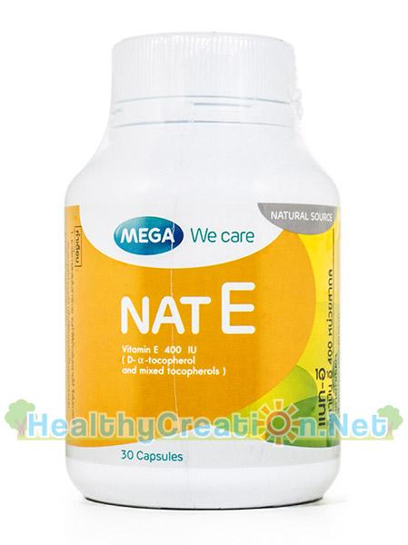 Mega We Care Nat E เมก้า วีแคร์ แนท อี บรรจุ 30 แคปซูล วิตามินอีจากธรรมชาติ เป็นสารต้านอนุมูลอิสระที่มีประสิทธิภาพ บำรุงผิว ผม เล็บ