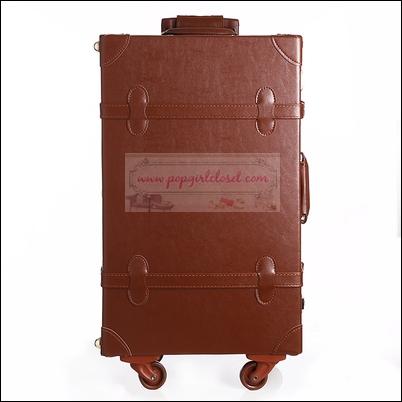 """กระเป๋าเดินทางดีไซน์วินเทจสไตล์เกาหลี วินเทจอัพเกรด 4 ล้อ Dark Brown Vintage Retro Suitcase Korea Style ไซส์ 20"""", 22"""", 24"""" หนัง PU (Pre-order) ราคาสินค้าอยู่ด้านในค่ะ"""