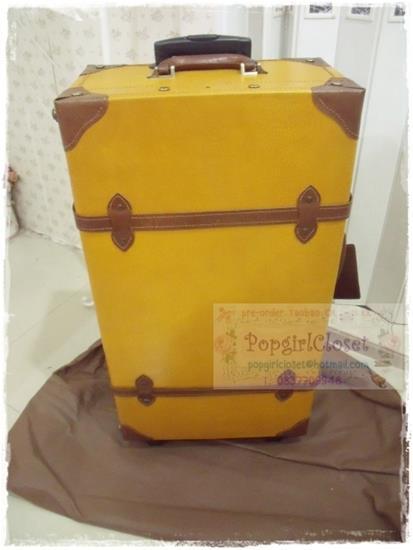 """กระเป๋าเดินทางล้อลากดีไซน์วินเทจเรโทร หนังแท้ Pigskin Korea&Japanese Style """"YELLOW MUSTARD / BROWN"""" ไซส์ 17, 20, 22, 24, 28, 30 นิ้ว คลาสสิคออริจินัล 2 ล้อ (Made to Order) ราคาสินค้าด้านในค่ะ"""