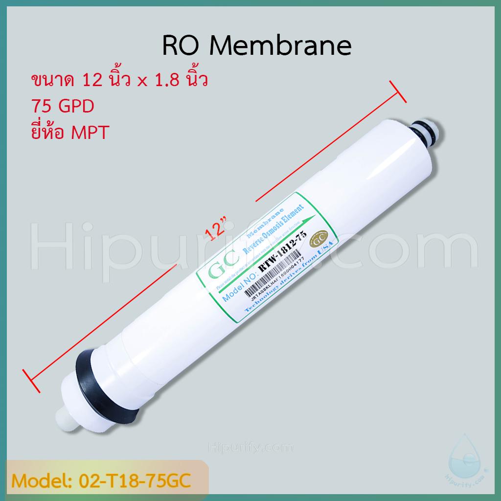 ไส้กรอง RO Membrane 75 GPD ยี่ห้อ GC By MPT ชิ้น/ลัง