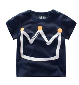 W011 : เสื้อแขนสั้นสีกรมท่าพิมพ์ลายมงกุฎเจ้าชาย (1,2,4,5)