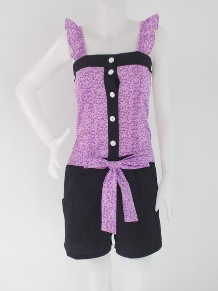 1002222 ขายส่งเสื้อผ้าแฟชั่นชุดเดรสกางเกงลายดอกไม้ เอวยืดได้ ผ้าเนื้อดีมากค่ะ รอบอก 34 นิ้ว