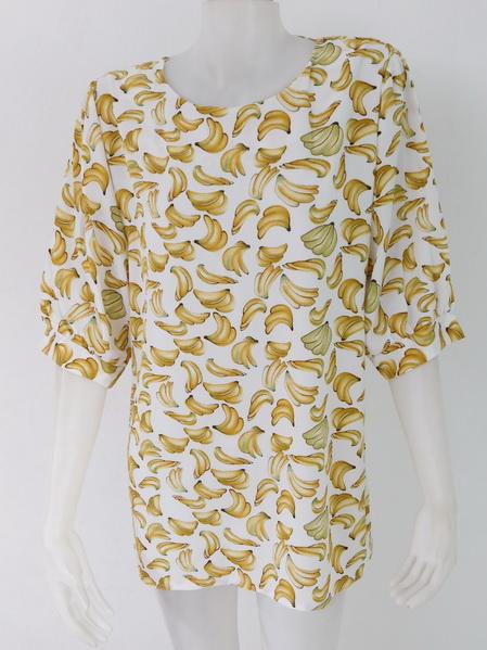 954972 ขายส่งเสื้อผ้าแฟชั่นลายกล้วยสุดฮิต ผ้าเนื้อดีใส่สบายค่ะ รอบอก 40 นิ้วความยาวเสื้อ 29 นิ้ว