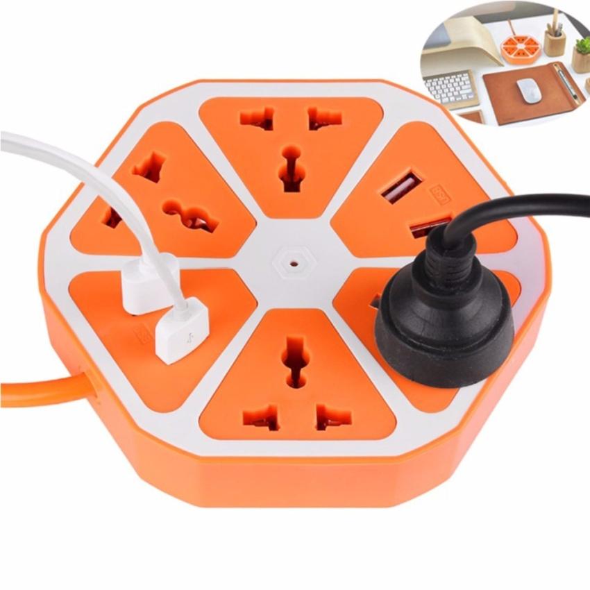 ปลั๊กไฟ หกเหลี่ยม ทรงผลไม้ 4 ช่องเสียบ USB และช่องเสียบไฟสำหรับพ่วงปลั๊กไฟได้อีกถึง 4 ช่อง ครบครัน