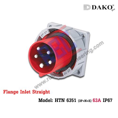 ปลั๊กตัวผู้ติดผนังฝังตรงกันน้ำ HTN 6351 (5P) 63A ,380-415V ~, IP67 ,DAKO