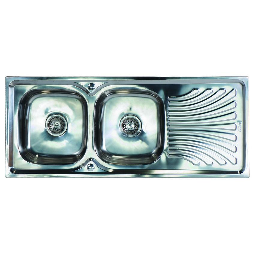 FS-12050-J ซิ้งค์ล้างจาน สองหลุม สแตนเลส อ่างล้างจาน มีที่พักจาน sink 0.6mm.