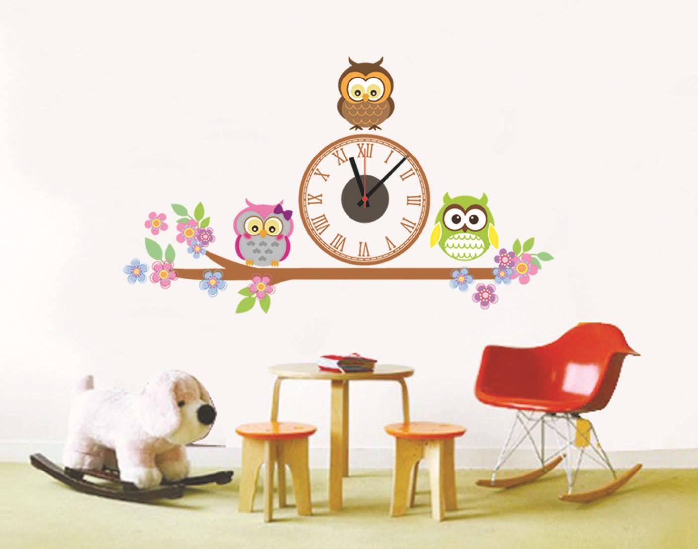 นาฬิกาพร้อมสติกเกอร์ นกฮูก3ตัว CD871