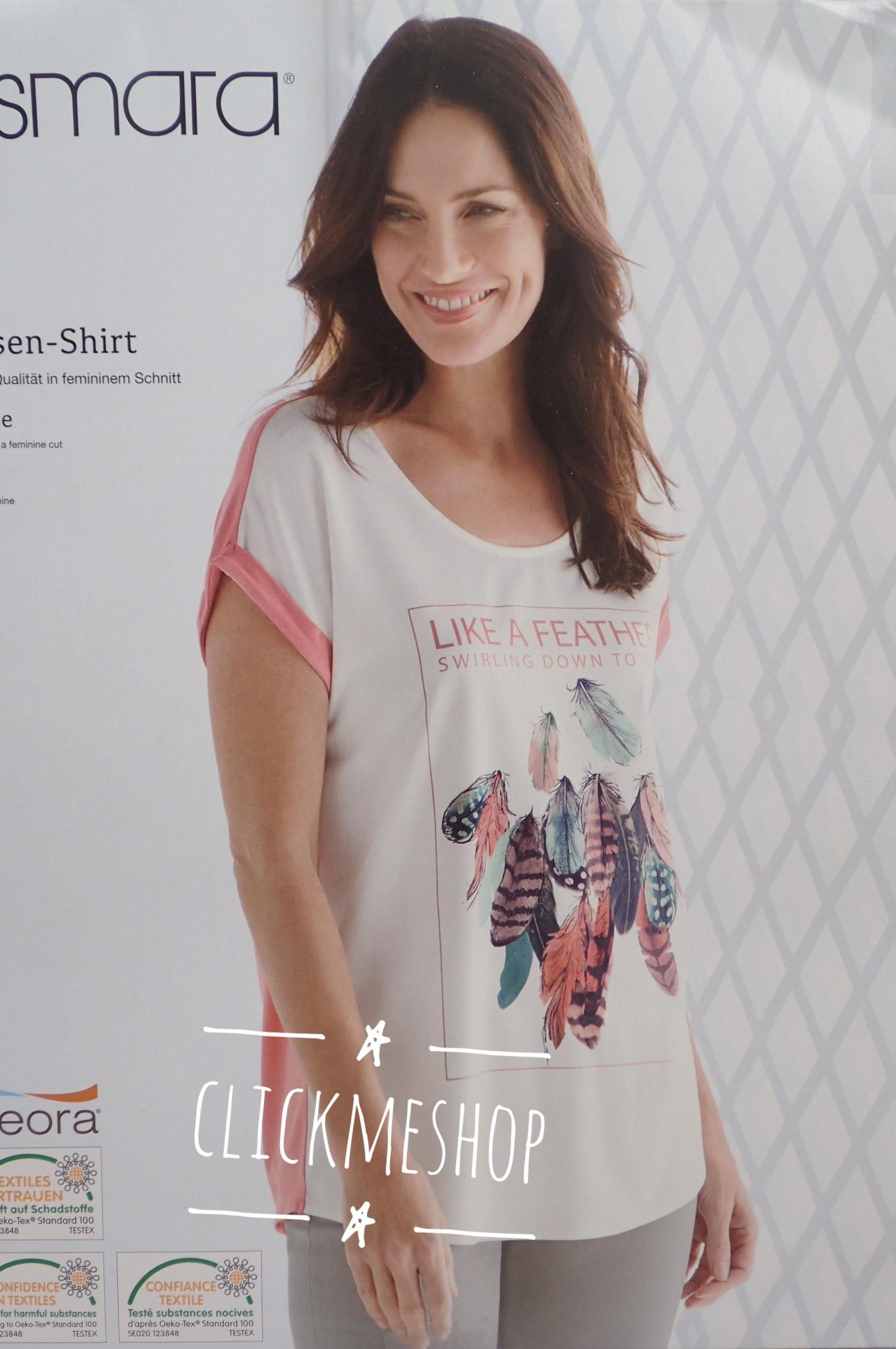 (ไซส์ 46 หน้าอก 46 นิ้ว ) เสื้อ สีชมพู สกรีนลายดอกไม้ ยี่ห้อ esmara น่ารักคะ