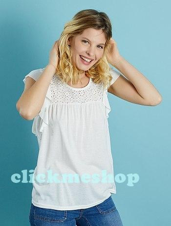 (ไซส์ L หน้าอก 42-44 นิ้ว ) เสื้อยืด สีขาว ยี่ห้อ Kiabi แต่งโคเชที่ไหล่ และ ด้านหลัง แขนระบายน่ารักคะ
