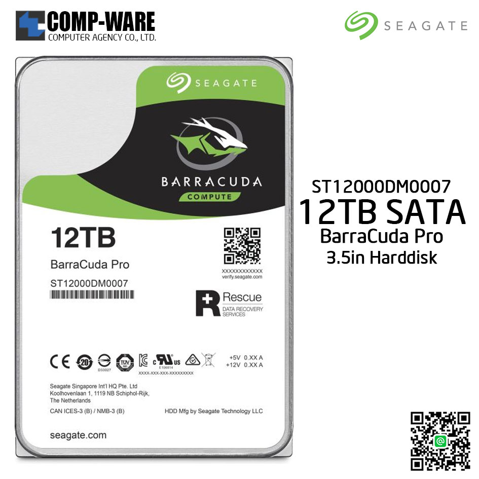 Seagate 12TB BarraCuda Pro 7200RPM SATA 6GB/s 256MB Cache 3.5-Inch Internal Hard Drive (ST12000DM0007)