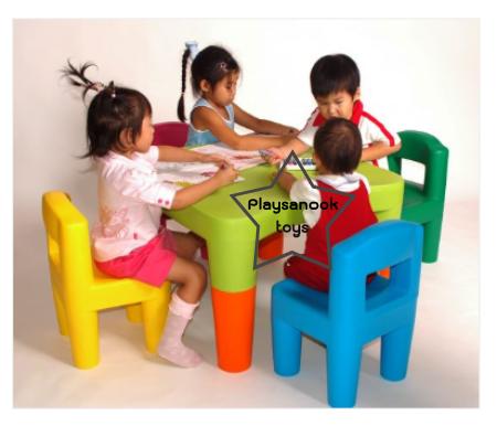 PPT-008 โต๊ะสี่เหลี่ยมใหญ่ขายาวพร้อมเก้าอี้คิดดี้ 4 ตัว