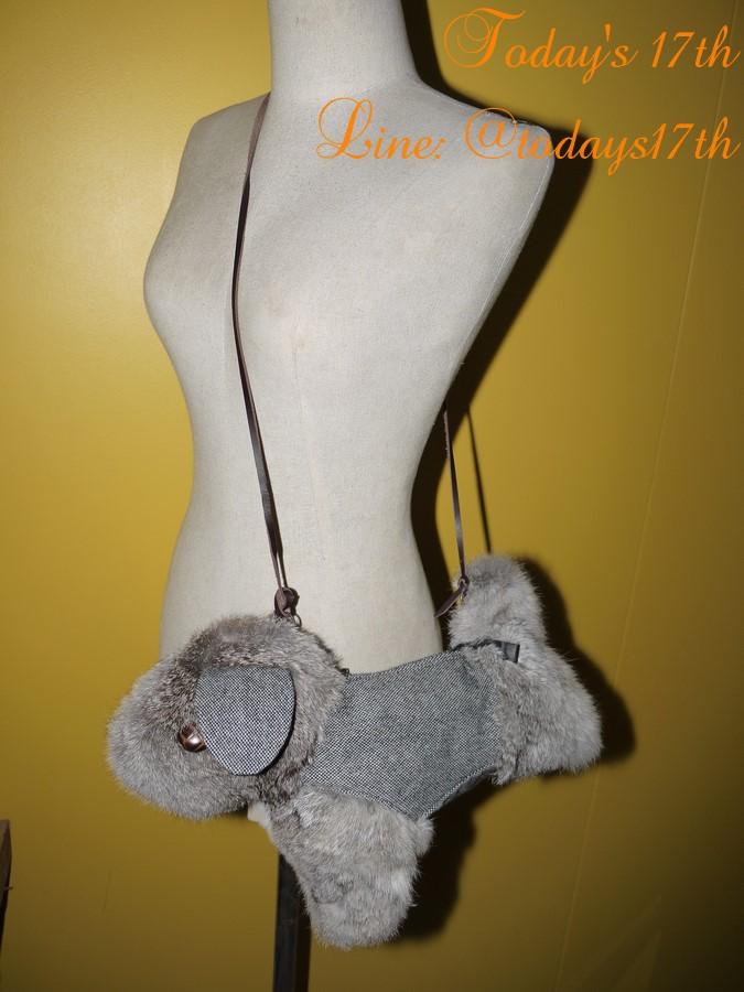 กระเป๋าขนกระต่ายแท้/ผ้าแคนวาส ทรงสุนัข