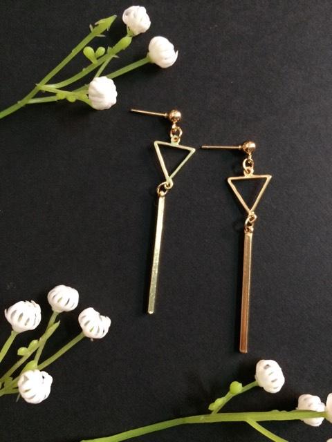 triangle long drop earrings