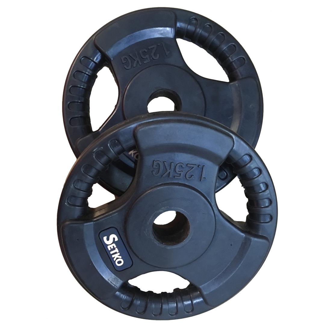 แผ่นน้ำหนักเหล็กหุ้มยาง : SK Fitness ขนาดรู 1 นิ้ว