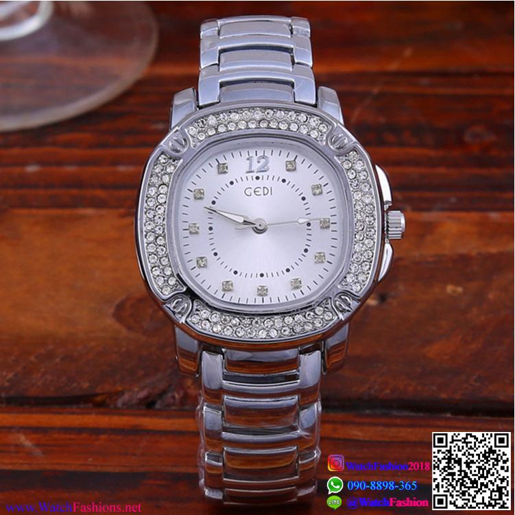 นาฬิกาข้อมือแฟชั่นนำเข้า ผู้หญิง GEDI สีเงิน กันน้ำ + ของแท้