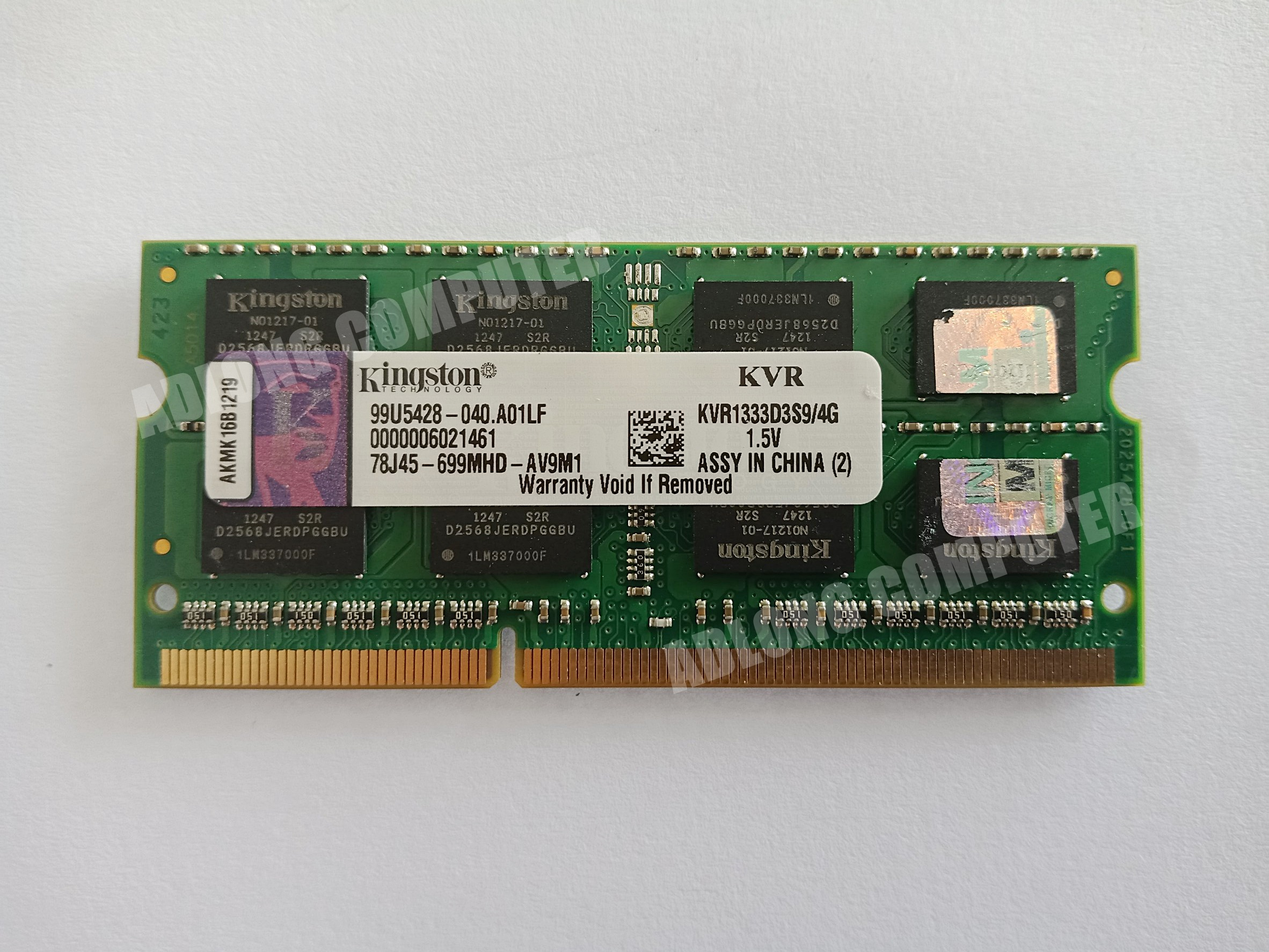 แรมโน๊ตบุ๊ค DDR3 / 4GB bus 1333 Kingston