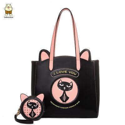 กระเป๋าทรงช๊อปปิ้งแมว+กระเป๋าใส่เหรียญใบกลม Beibaobao แท้ 💯%