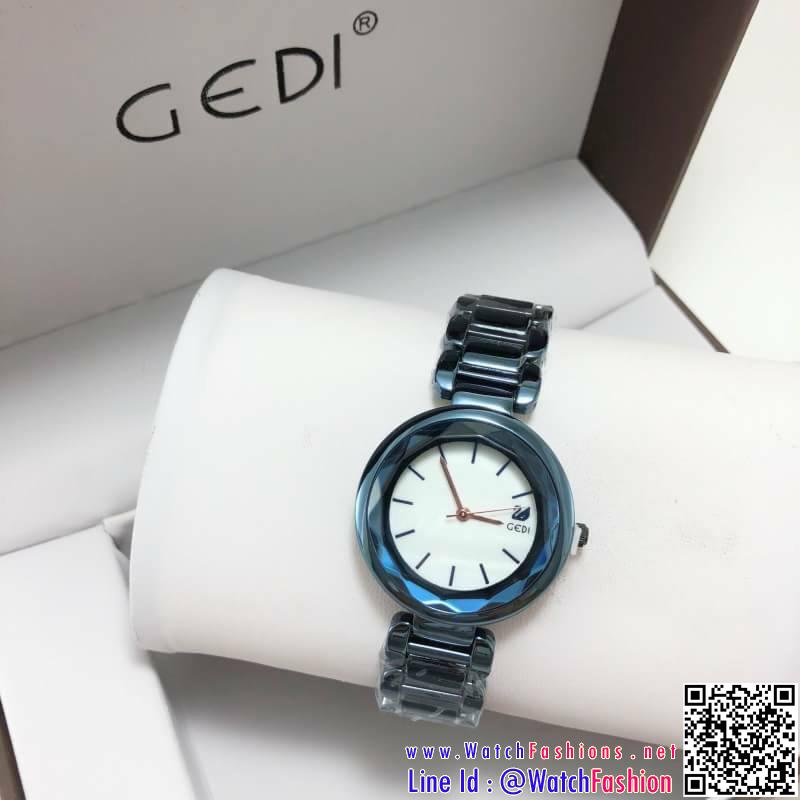 นาฬิกาข้อมือแฟชั่นนำเข้า ผู้หญิง GEDI สีฟ้าประกาย กันน้ำ + ของแท้