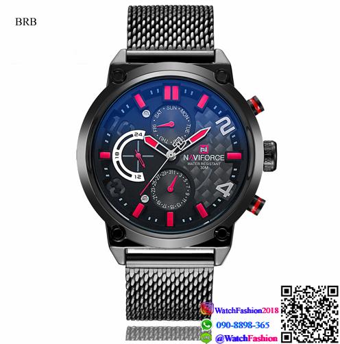 นาฬิกาข้อมือแฟชั่นนำเข้า ผู้ชาย NAVIFORCE แบบ ฺBRG เทห์ แนวสปอร์ต สายสแตนเลส