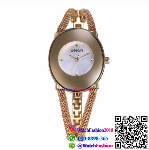 นาฬิกาข้อมือแฟชั่นนำเข้า ผู้หญิง WEIQIN สีทอง หน้าขาว กันน้ำ + ของแท้