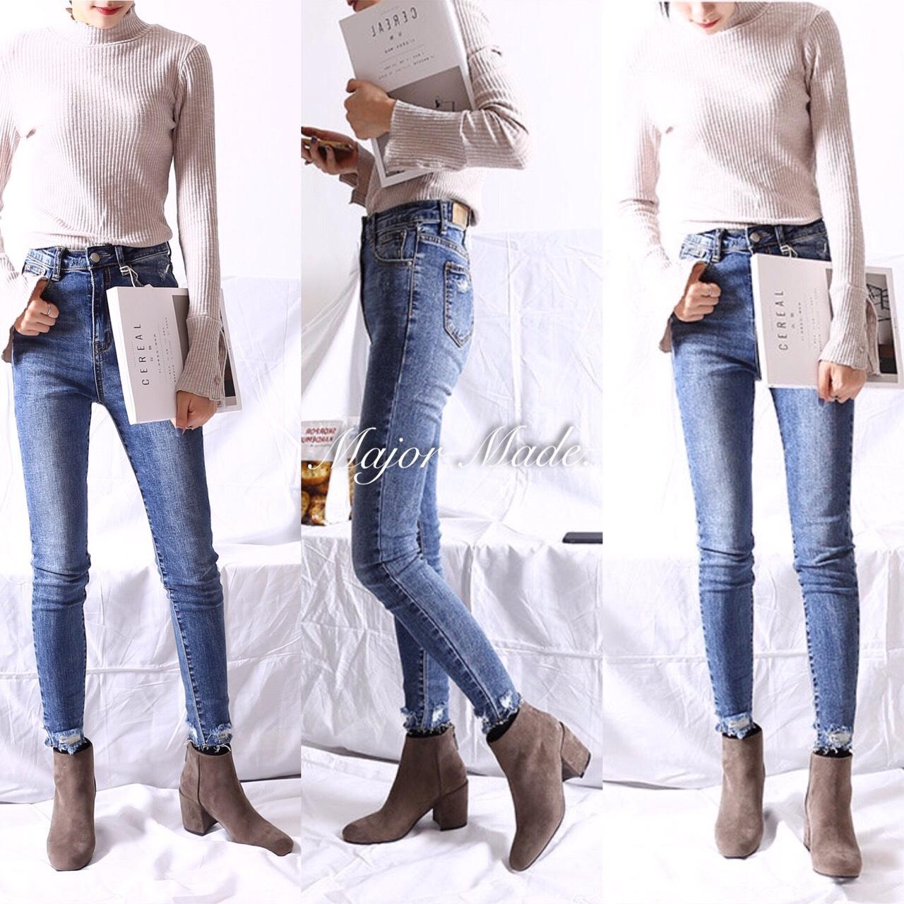 กางเกงยีนส์เอวสูงแฟชั่น JH1057#