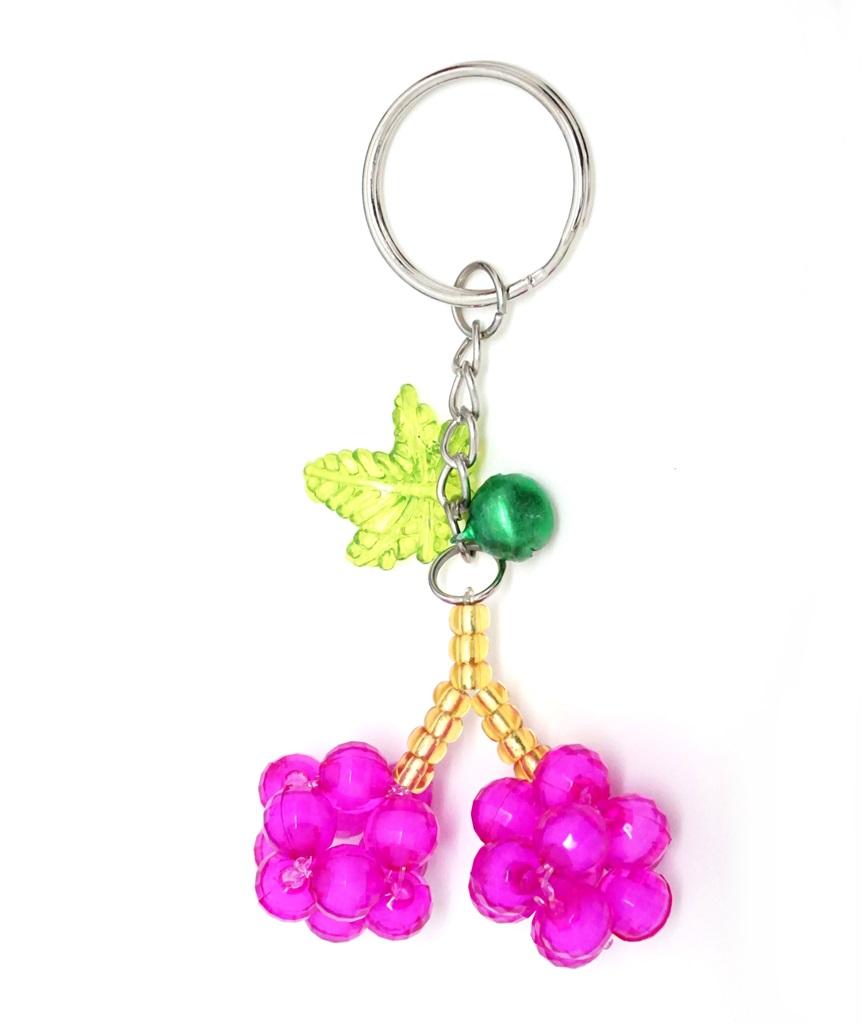 พวงกุญแจลูกปัดคู่ สีชมพูอมม่วง 12อัน