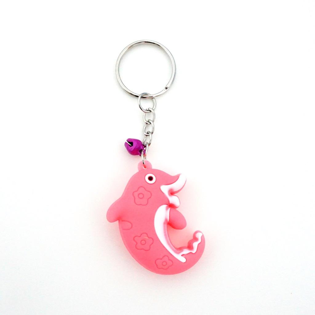 พวงกุญแจยาง ปลาโลมา(สีชมพู) 12อัน