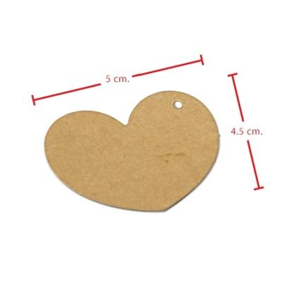 ป้ายแขวนหัวใจสีน้ำตาล 5x4.5 cm. 100 ชิ้น : A004650