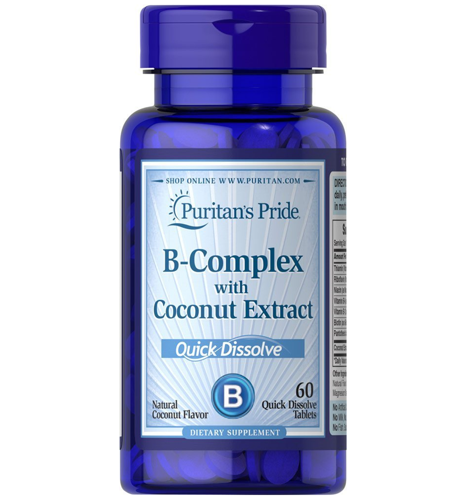 Puritan's Pride Vitamin B-Complex with Coconut Extract Quick Dissolve/ 60 Tablets