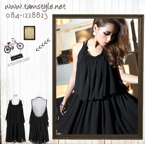 *** Dress0049-เดรสแฟชั่น- เดรสปาตี้ สีดำผ้าชีฟอง ด้านหลังซีทรู เปรี้ยวจ้าาา ((เดรสแฟชั่นพร้อมส่ง))