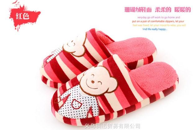 พร้อมส่ง รองเท้าแตะน้องหมีน่ารัก สีแดง