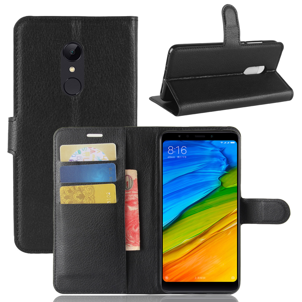 Leather Wallet Case (Redmi 5 PLUS)