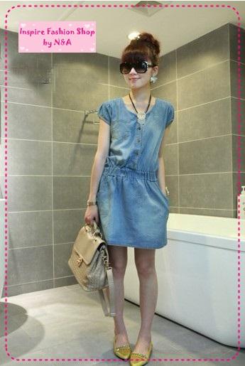 เดรสยีนส์แขนสั้น Korean cowboy single-breasted repair waist dress